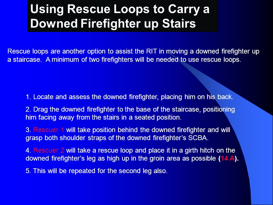Using Rescue Loops to Carry a Downed Firefighter up Stairs Rescue loops are another option to assist the RIT in moving a downed firefighter up a staircase.