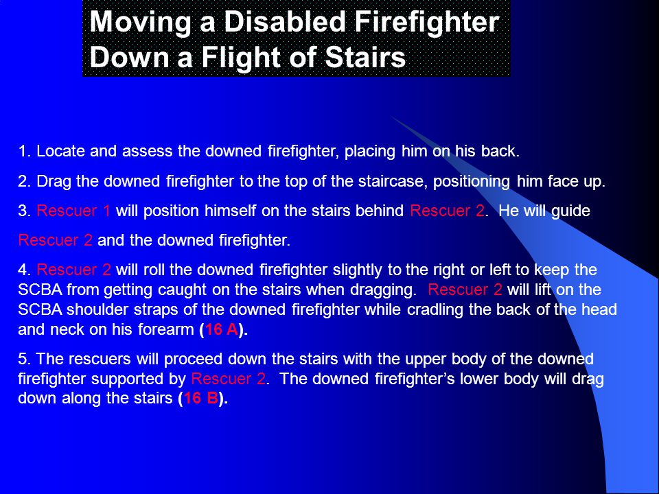 Moving a Disabled Firefighter Down a Flight of Stairs 1.