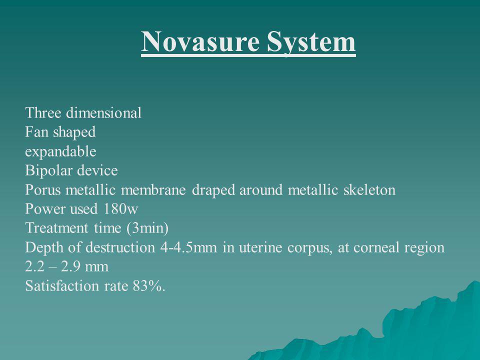 Novasure System Three dimensional Fan shaped expandable Bipolar device Porus metallic membrane draped around metallic skeleton Power used 180w Treatme