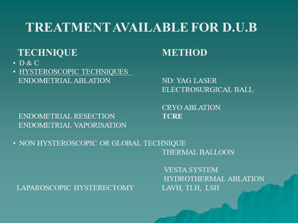 TREATMENT AVAILABLE FOR D.U.B TECHNIQUEMETHOD D & C HYSTEROSCOPIC TECHNIQUES ENDOMETRIAL ABLATIONND: YAG LASER ELECTROSURGICAL BALL CRYO ABLATION ENDO