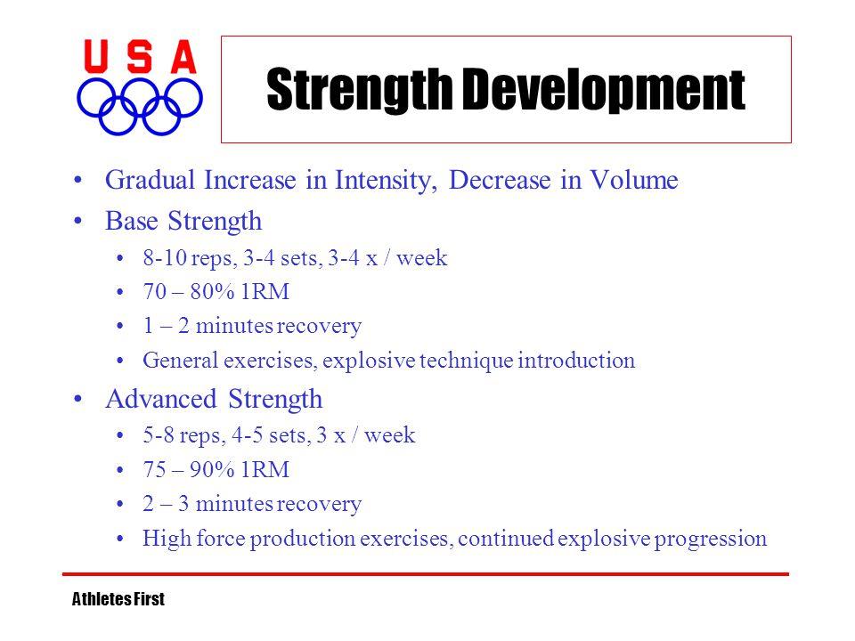 Strength Development Gradual Increase in Intensity, Decrease in Volume Base Strength 8-10 reps, 3-4 sets, 3-4 x / week 70 – 80% 1RM 1 – 2 minutes reco