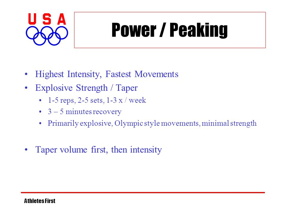 Power / Peaking Highest Intensity, Fastest Movements Explosive Strength / Taper 1-5 reps, 2-5 sets, 1-3 x / week 3 – 5 minutes recovery Primarily expl