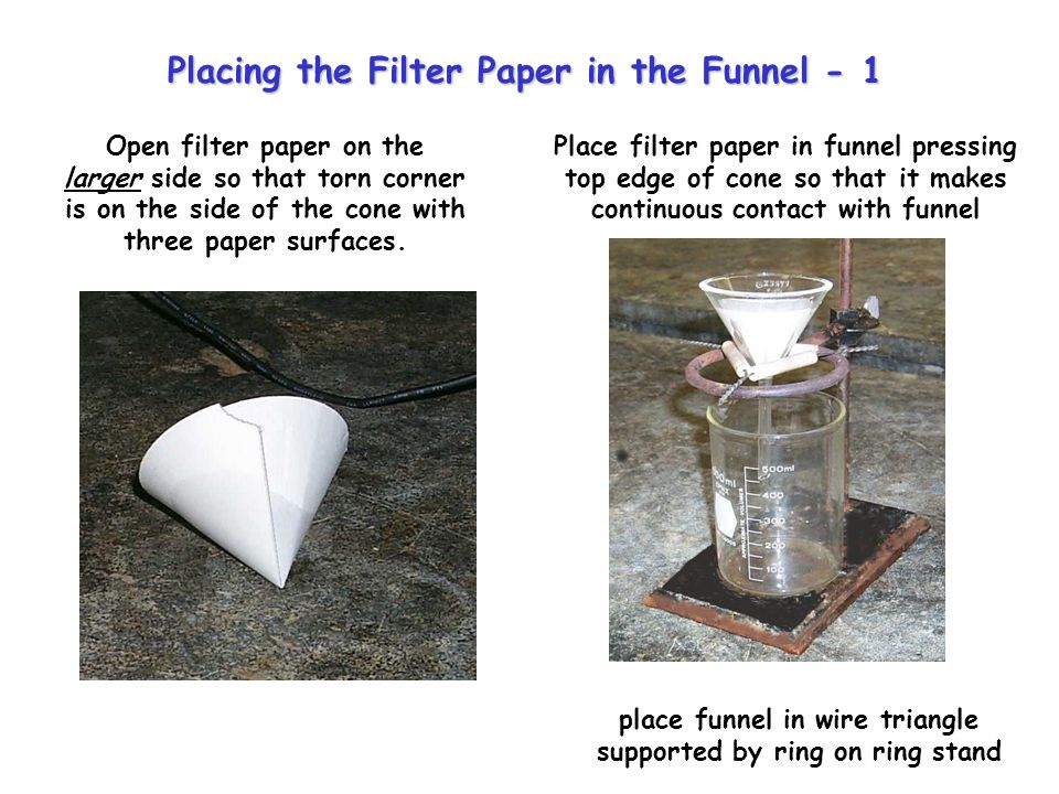 Open filter paper on the larger side so that torn corner is on the side of the cone with three paper surfaces. place funnel in wire triangle supported