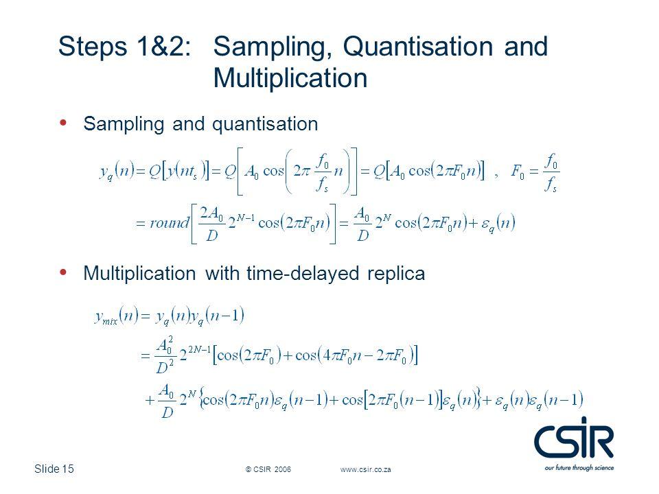 Slide 15 © CSIR 2006 www.csir.co.za Steps 1&2: Sampling, Quantisation and Multiplication Sampling and quantisation Multiplication with time-delayed re
