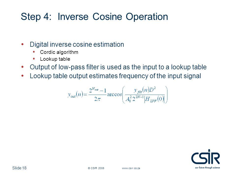 Slide 18 © CSIR 2006 www.csir.co.za Step 4:Inverse Cosine Operation Digital inverse cosine estimation Cordic algorithm Lookup table Output of low-pass