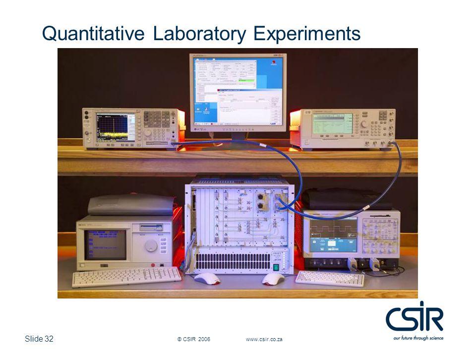 Slide 32 © CSIR 2006 www.csir.co.za Quantitative Laboratory Experiments