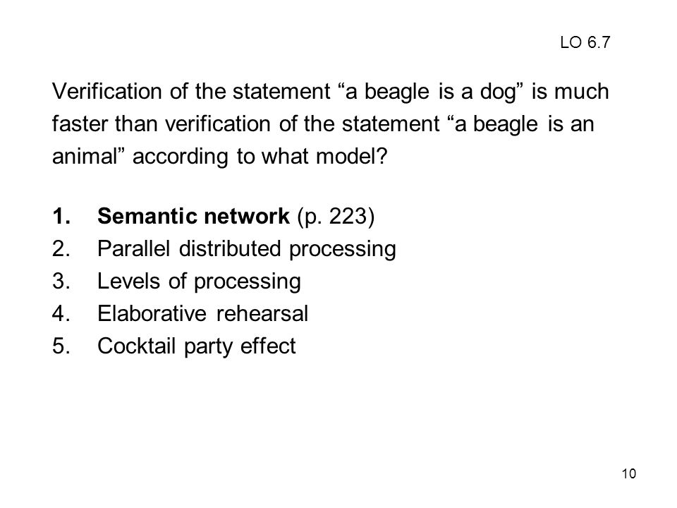 10 Verification of the statement a beagle is a dog is much faster than verification of the statement a beagle is an animal according to what model? 1.