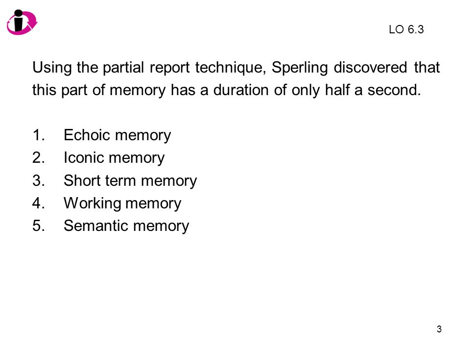 14 Which of the following is NOT an example of recall.