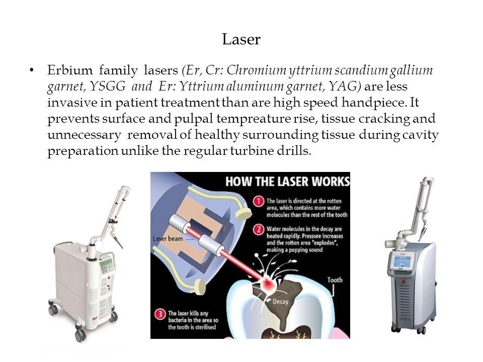 Laser Erbium family lasers (Er, Cr: Chromium yttrium scandium gallium garnet, YSGG and Er: Yttrium aluminum garnet, YAG) are less invasive in patient treatment than are high speed handpiece.