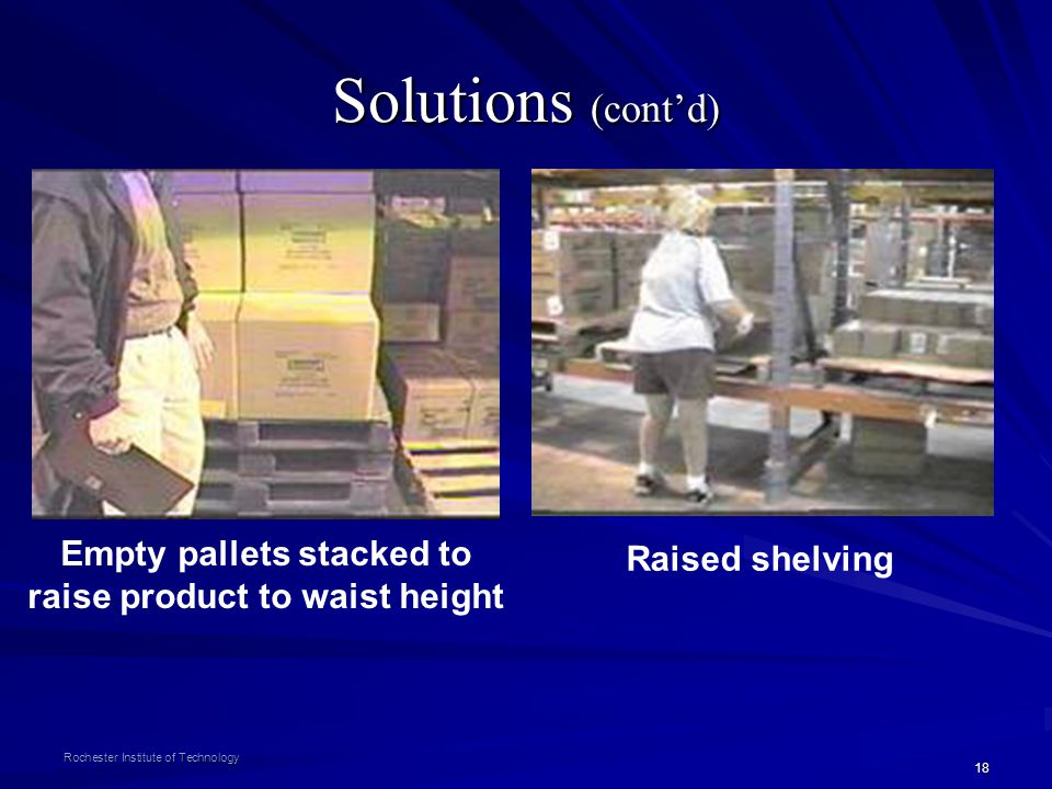 18 Rochester Institute of Technology Solutions (contd) Empty pallets stacked to raise product to waist height Raised shelving