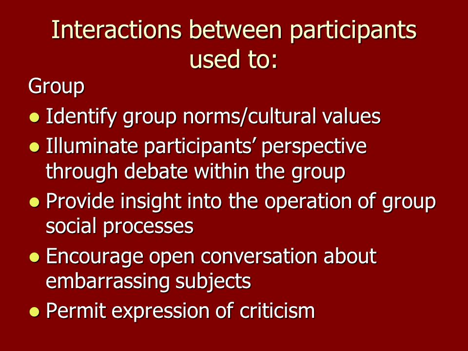 Interactions between participants used to: Group Identify group norms/cultural values Identify group norms/cultural values Illuminate participants perspective through debate within the group Illuminate participants perspective through debate within the group Provide insight into the operation of group social processes Provide insight into the operation of group social processes Encourage open conversation about embarrassing subjects Encourage open conversation about embarrassing subjects Permit expression of criticism Permit expression of criticism