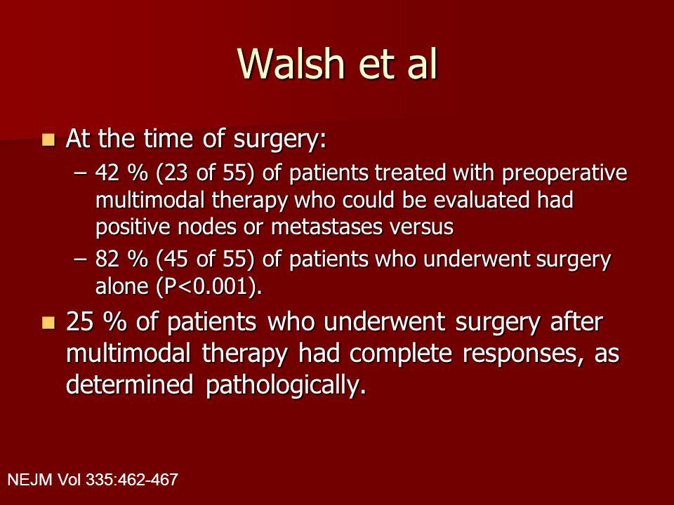 Walsh et al At the time of surgery: At the time of surgery: –42 % (23 of 55) of patients treated with preoperative multimodal therapy who could be eva