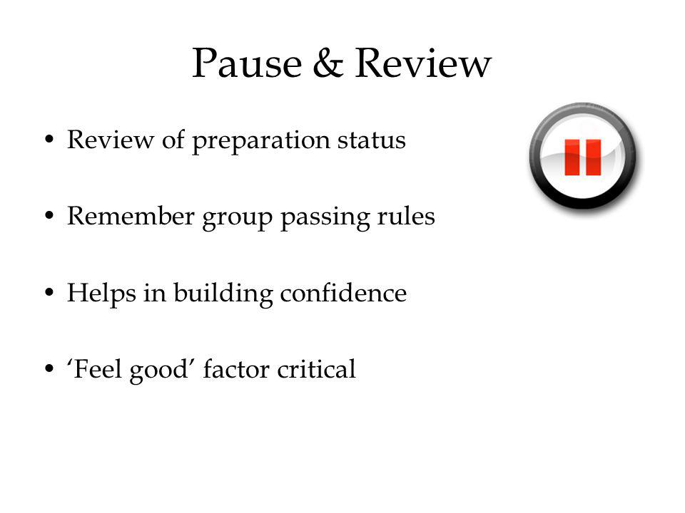 Pause & Review Review of preparation status Remember group passing rules Helps in building confidence Feel good factor critical