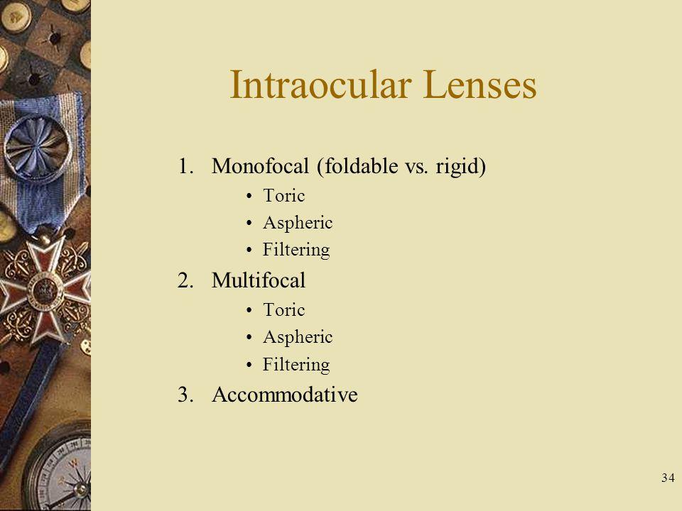 Intraocular Lenses 1.Monofocal (foldable vs. rigid) Toric Aspheric Filtering 2.Multifocal Toric Aspheric Filtering 3.Accommodative 34