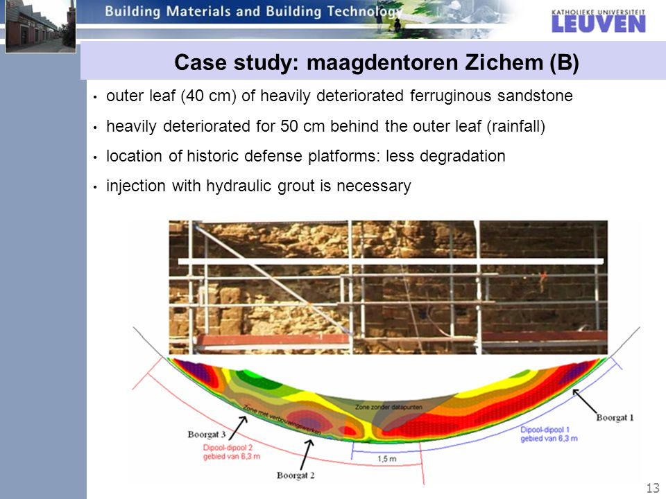 13 Case study: maagdentoren Zichem (B) outer leaf (40 cm) of heavily deteriorated ferruginous sandstone heavily deteriorated for 50 cm behind the outer leaf (rainfall) location of historic defense platforms: less degradation injection with hydraulic grout is necessary