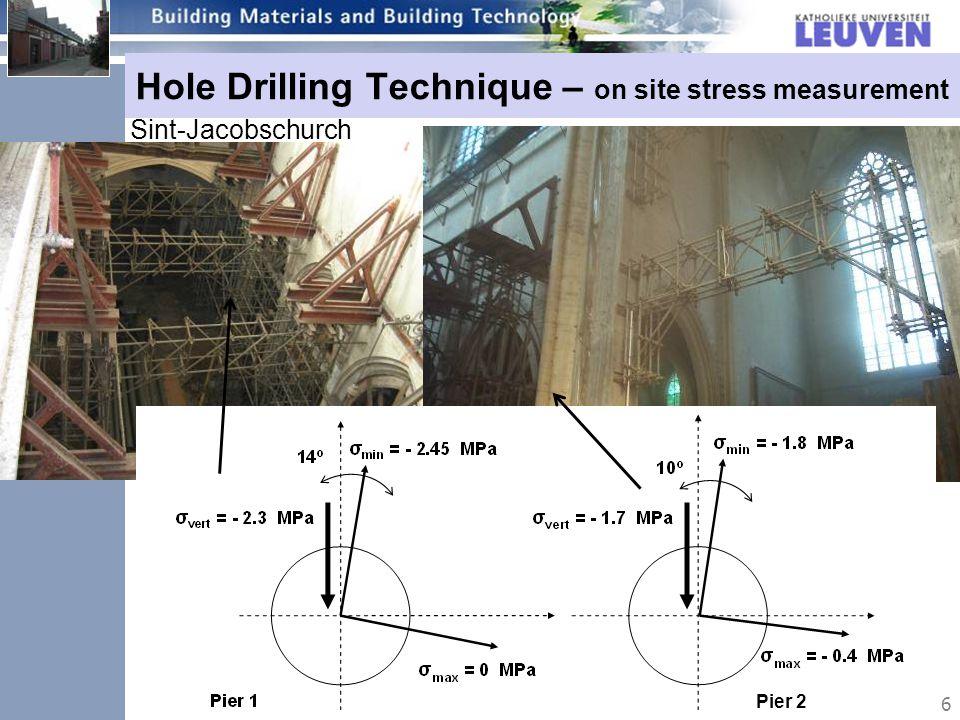 6 Hole Drilling Technique – on site stress measurement Sint-Jacobschurch Pier 2