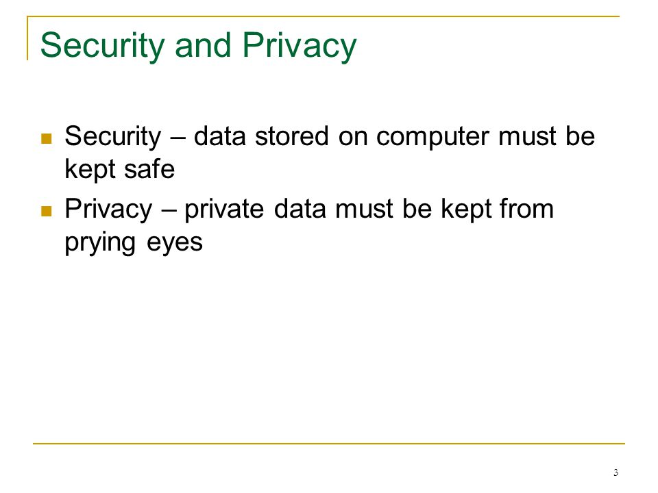 43 Protecting Your Privacy Data you give to organizations is often sold or rented to other organizations Massive databases make it easy and inexpensive to learn almost anything about anybody Legislation exists to protect your privacy