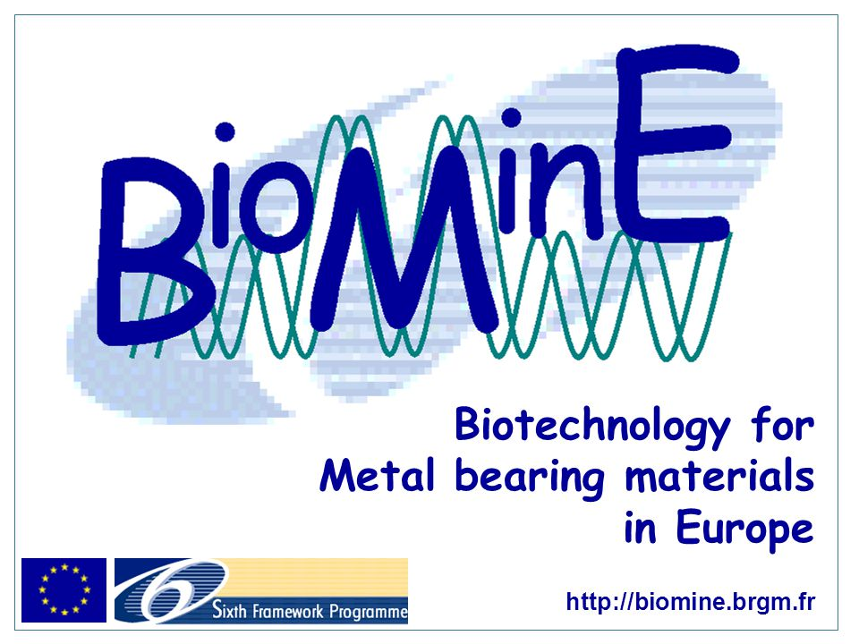 Biotechnology for Metal bearing materials in Europe http://biomine.brgm.fr
