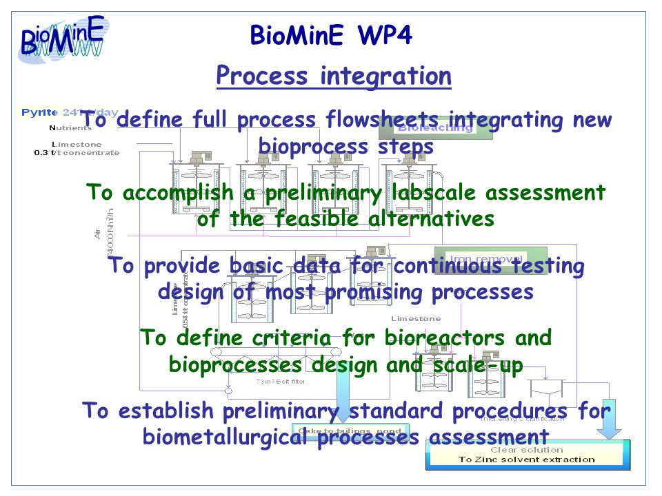 BioMinE WP4 Process integration To define full process flowsheets integrating new bioprocess steps To accomplish a preliminary labscale assessment of