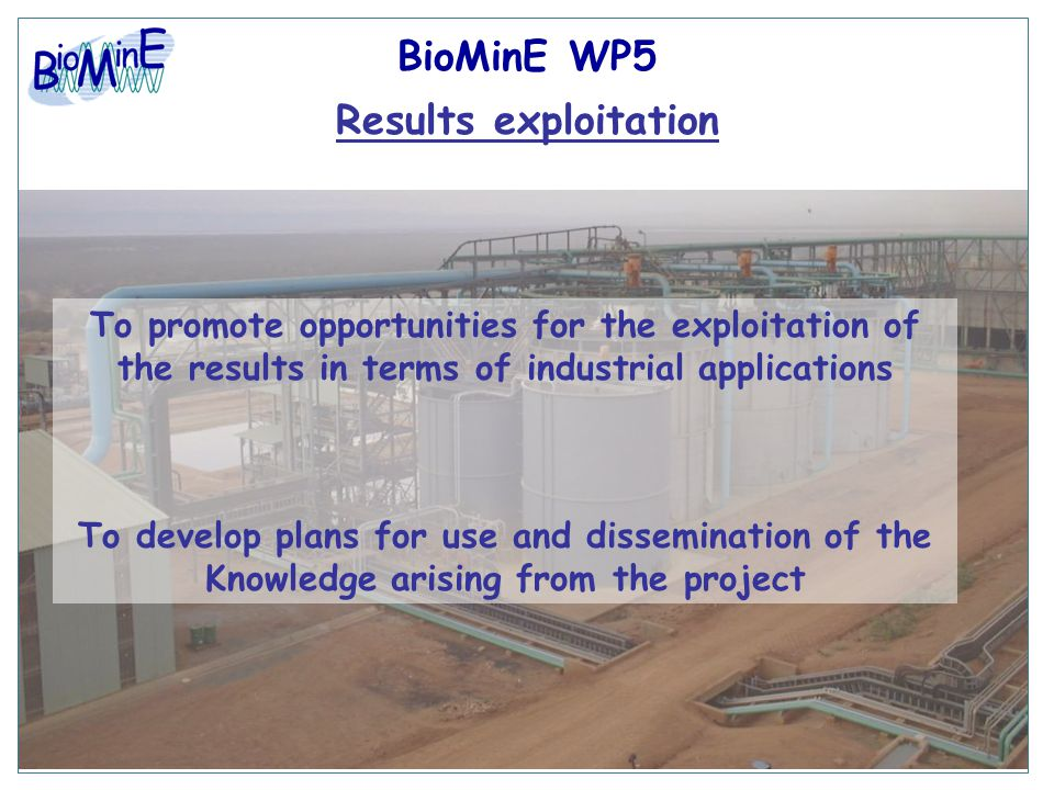 BioMinE WP5 Results exploitation To promote opportunities for the exploitation of the results in terms of industrial applications To develop plans for use and dissemination of the Knowledge arising from the project