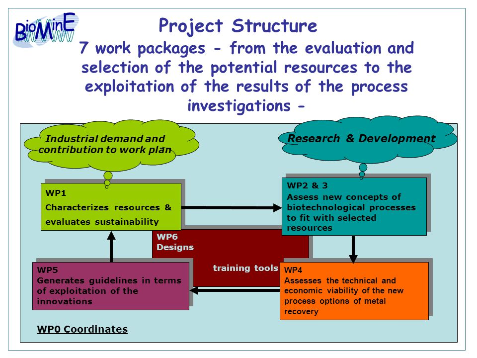 Project Structure WP0 Coordinates WP6 Designs training tools WP6 Designs training tools WP5 Generates guidelines in terms of exploitation of the innov