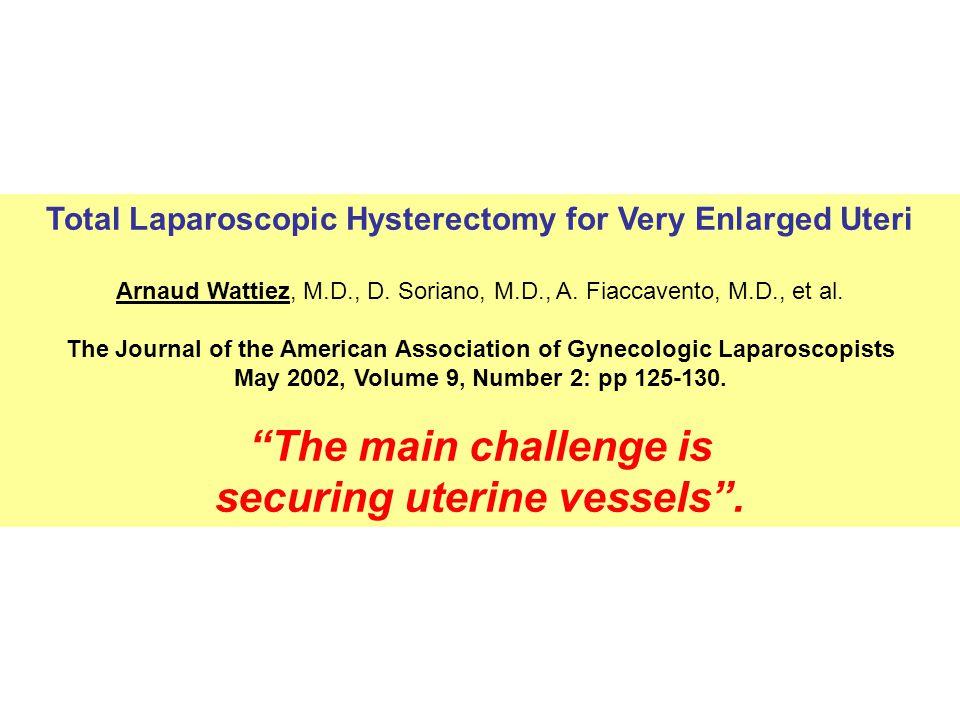 Total Laparoscopic Hysterectomy for Very Enlarged Uteri Arnaud Wattiez, M.D., D.