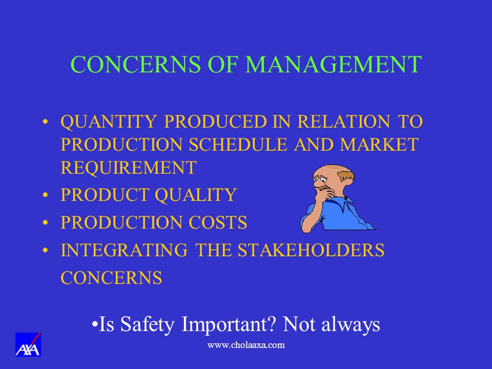 www.cholaaxa.com CONCERNS OF MANAGEMENT QUANTITY PRODUCED IN RELATION TO PRODUCTION SCHEDULE AND MARKET REQUIREMENT PRODUCT QUALITY PRODUCTION COSTS INTEGRATING THE STAKEHOLDERS CONCERNS Is Safety Important.