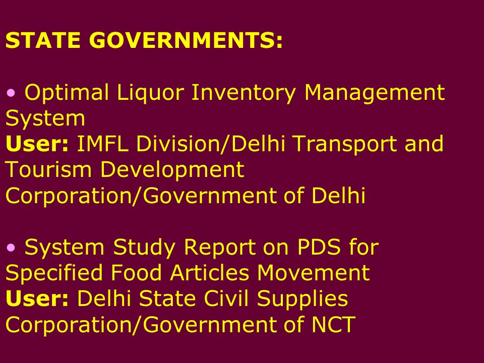 Methodology for All India transportation and distribution of food grains-A study User: Food Corporation of India * CPM/PERT based Monitoring System for Construction of Food grain Storages User: Food Corporation of India * Appraisal Report on NJPC-TCS Study for Project Management Function User: Nathpa Jhakri Power Corporation