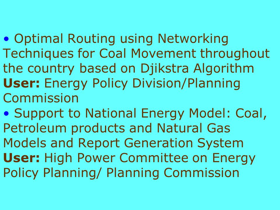 Medium Range Production Planning Optimization Model for Vizag Refinery - Monthly production/operation Plan - (Linear Programming Model) User: OCC/Ministry of Petroleum and Natural Gas Optimum Location, Number(s) and Capacities of LPG Bottling Plant(s) and Optimal Distribution Plan for a defined time horizon- A study User: OCC/Ministry of Petroleum and Natural Gas
