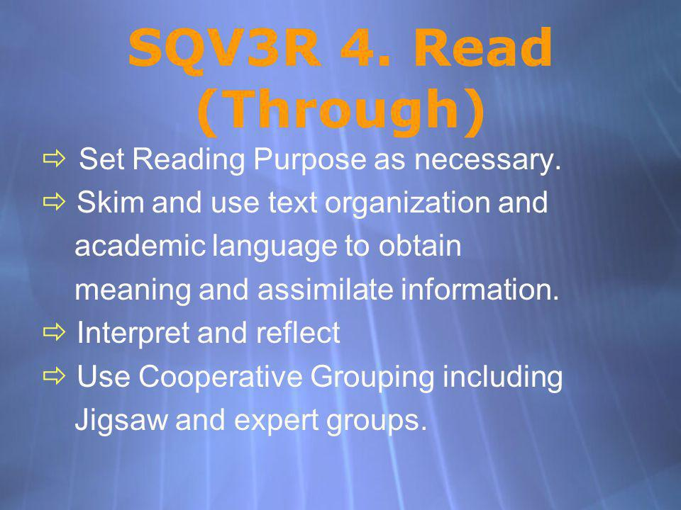SQV3R 4. Read (Through) Set Reading Purpose as necessary. Skim and use text organization and academic language to obtain meaning and assimilate inform