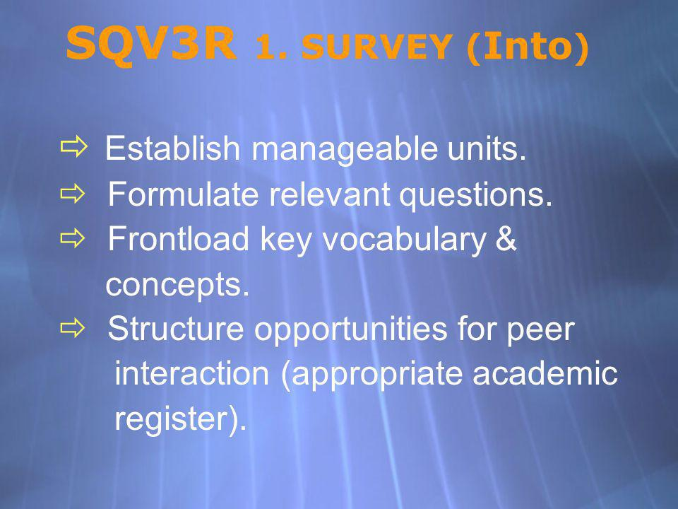 SQV3R 1. SURVEY ( Into ) Establish manageable units. Formulate relevant questions. Frontload key vocabulary & concepts. Structure opportunities for pe