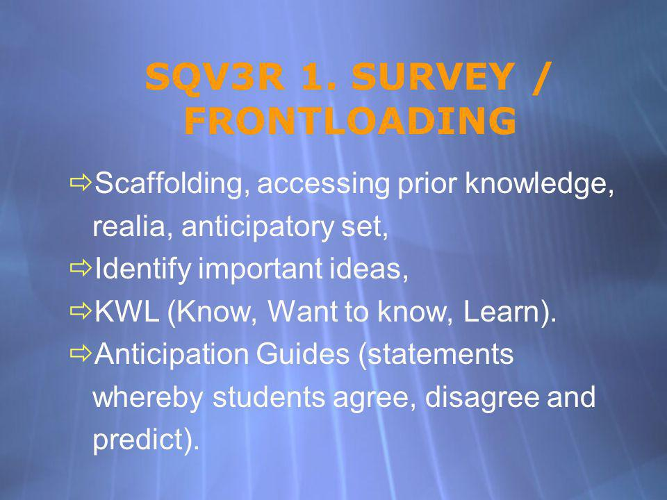SQV3R 1. SURVEY / FRONTLOADING Scaffolding, accessing prior knowledge, realia, anticipatory set, Identify important ideas, KWL (Know, Want to know, Le