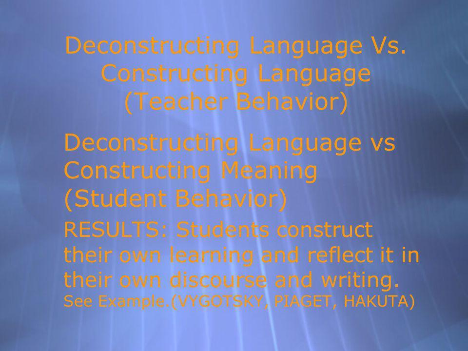 Deconstructing Language Vs.