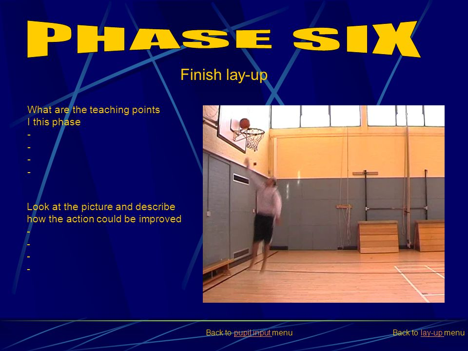 Finish lay-up What are the teaching points I this phase - Look at the picture and describe how the action could be improved - Back to lay-up menulay-u