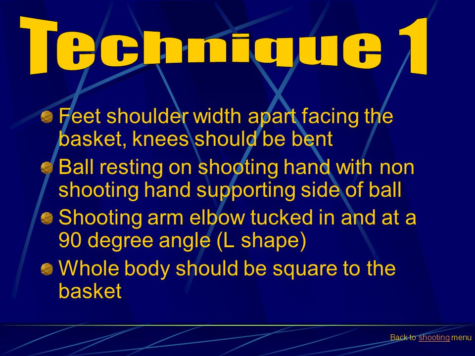 Feet shoulder width apart facing the basket, knees should be bent Ball resting on shooting hand with non shooting hand supporting side of ball Shootin