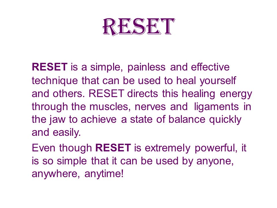 RESET PAIN Client had difficulty in moving neck, dull low level pain in neck, and shoulder pain like pins and needles.