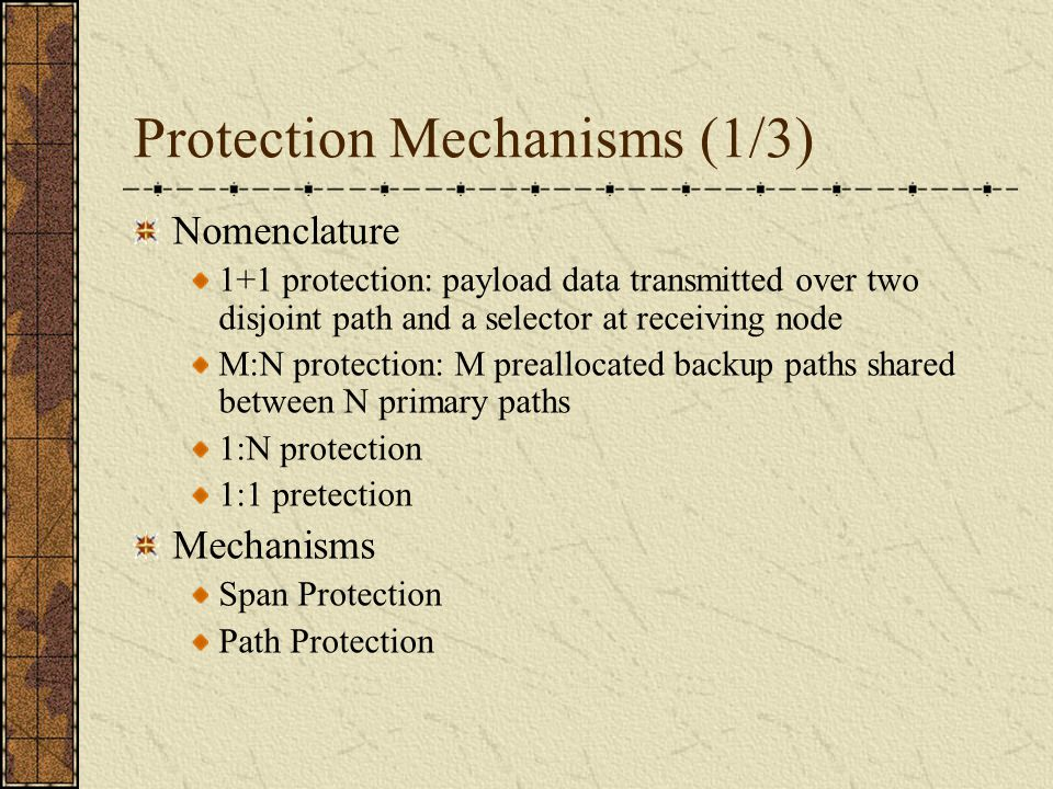 Protection Mechanisms (1/3) Nomenclature 1+1 protection: payload data transmitted over two disjoint path and a selector at receiving node M:N protection: M preallocated backup paths shared between N primary paths 1:N protection 1:1 pretection Mechanisms Span Protection Path Protection