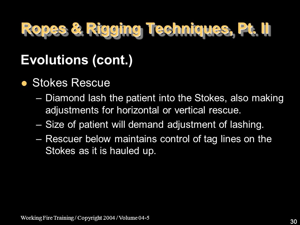 Working Fire Training / Copyright 2004 / Volume 04-5 30 Ropes & Rigging Techniques, Pt.