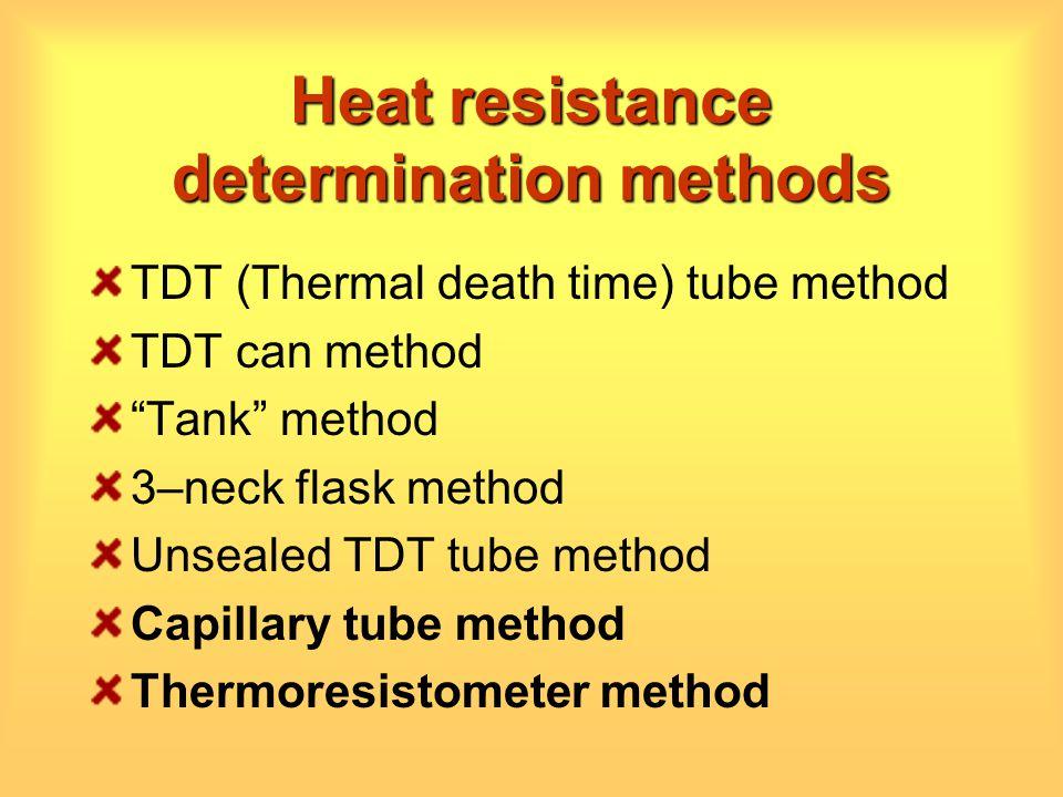 Heat resistance determination methods TDT (Thermal death time) tube method TDT can method Tank method 3–neck flask method Unsealed TDT tube method Cap