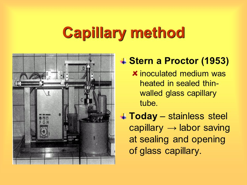 Capillary method Stern a Proctor (1953) inoculated medium was heated in sealed thin- walled glass capillary tube. Today – stainless steel capillary la