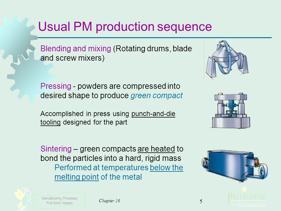 Manufacturing Processes Prof Simin Nasseri Chapter 16 5 Usual PM production sequence Blending and mixing (Rotating drums, blade and screw mixers) Pres