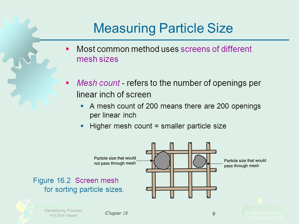 Manufacturing Processes Prof Simin Nasseri Chapter 16 9 Measuring Particle Size Most common method uses screens of different mesh sizes Mesh count - r