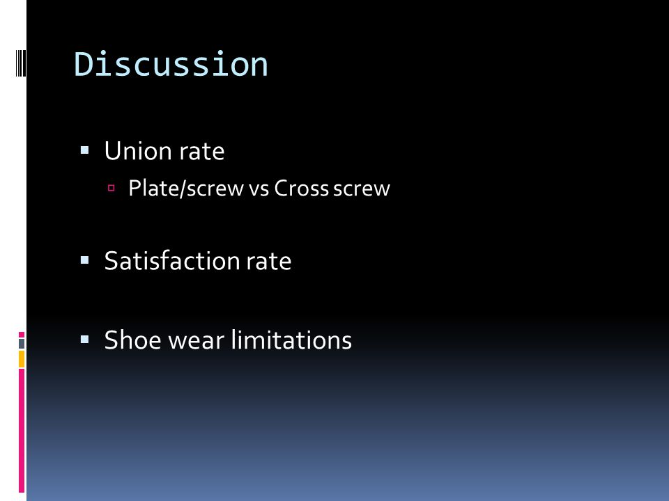 Discussion Union rate Plate/screw vs Cross screw Satisfaction rate Shoe wear limitations