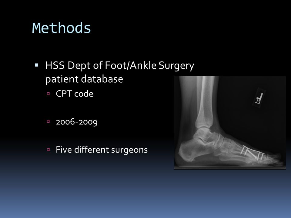 Methods HSS Dept of Foot/Ankle Surgery patient database CPT code 2006-2009 Five different surgeons
