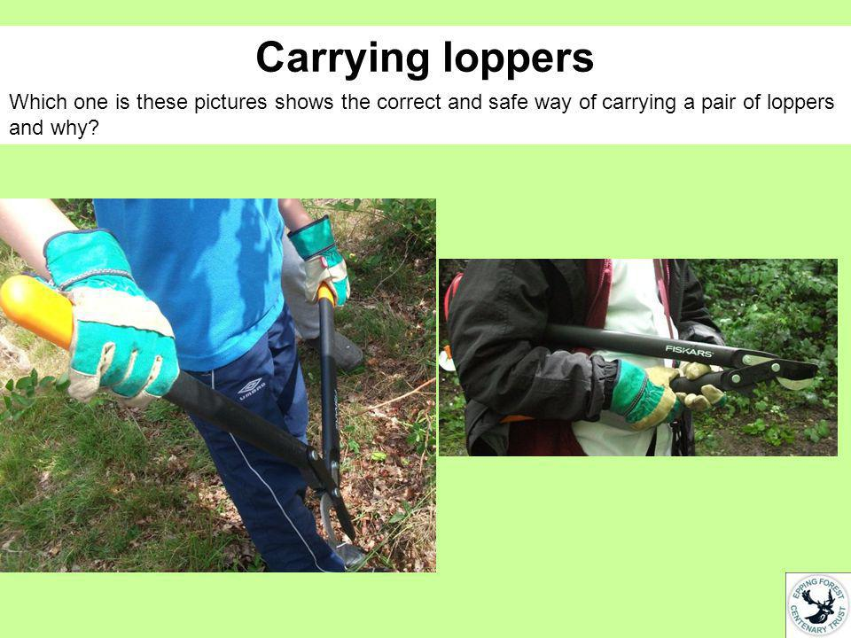 Carrying loppers Which one is these pictures shows the correct and safe way of carrying a pair of loppers and why