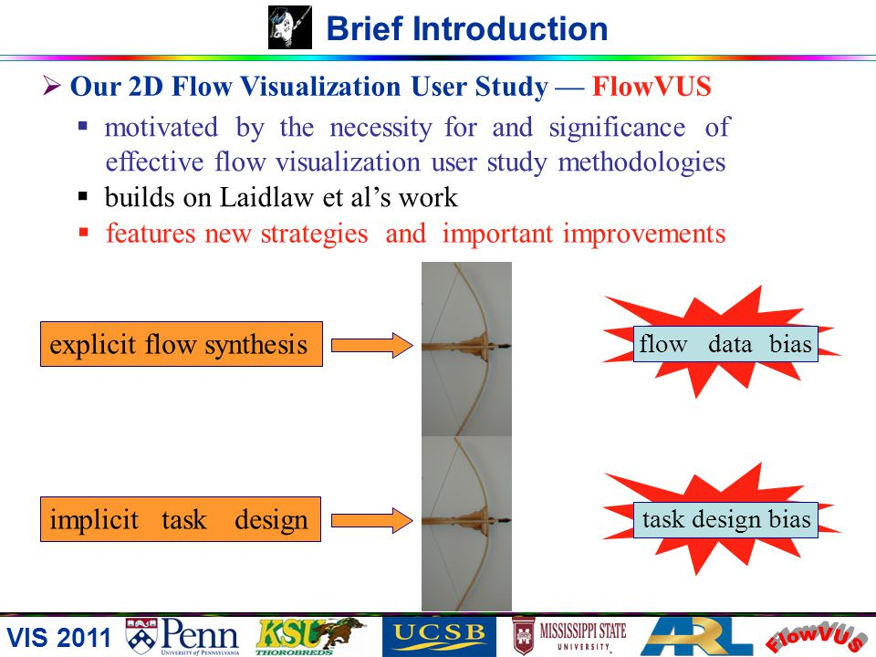 VIS 2011 Brief Introduction Our 2D Flow Visualization User Study FlowVUS motivated by the necessity for and significance of effective flow visualization user study methodologies builds on Laidlaw et als work features new strategies and important improvements explicit flow synthesis implicit task design flow data bias task design bias