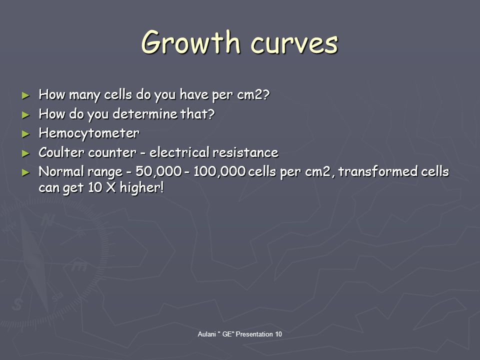 Growth curves How many cells do you have per cm2. How many cells do you have per cm2.