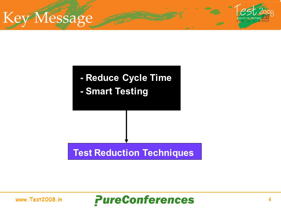 www.Test2008.in 4 Key Message - Reduce Cycle Time - Smart Testing Test Reduction Techniques