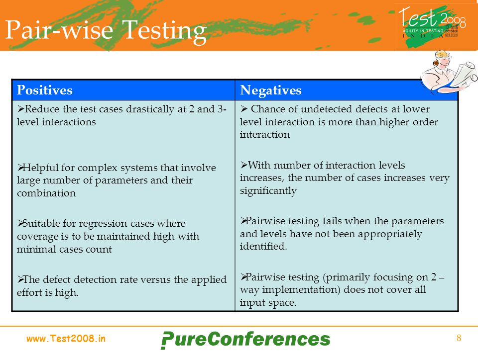 www.Test2008.in 8 Pair-wise Testing PositivesNegatives Reduce the test cases drastically at 2 and 3- level interactions Helpful for complex systems that involve large number of parameters and their combination Suitable for regression cases where coverage is to be maintained high with minimal cases count The defect detection rate versus the applied effort is high.