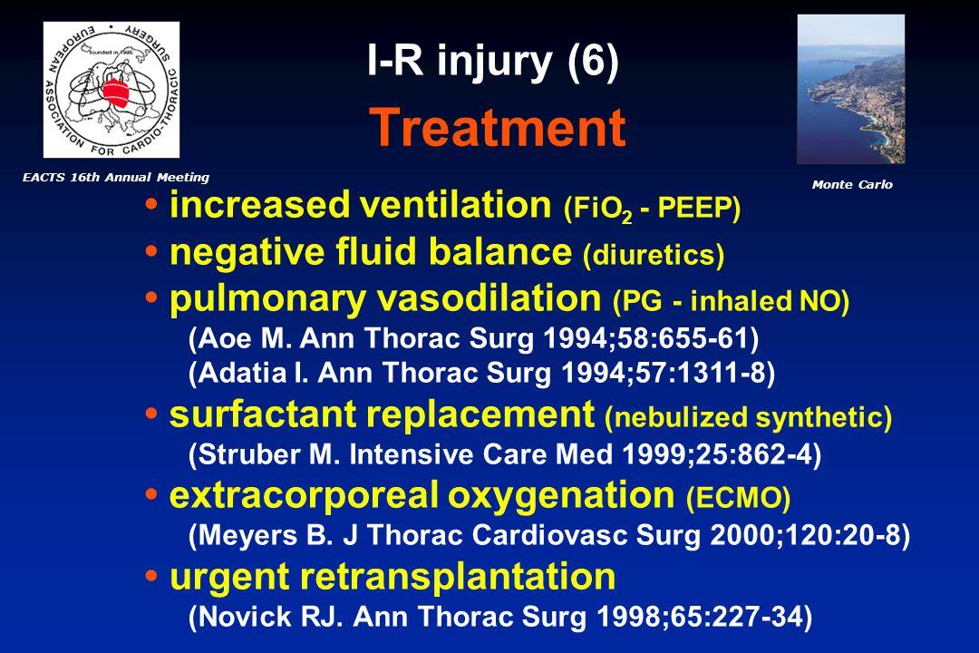 EACTS 16th Annual Meeting Monte Carlo Treatment increased ventilation (FiO 2 - PEEP) negative fluid balance (diuretics) pulmonary vasodilation (PG - inhaled NO) (Aoe M.